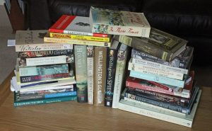 Pile of non-fiction history books
