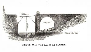 The damaged bridge over the River Tagus at Almaraz, Spain.