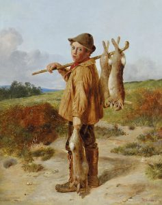 Image of a poacher with dead rabbits