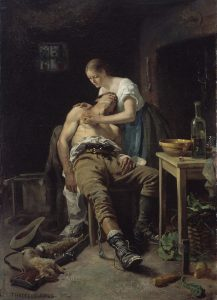 Wounded poacher being tended by his wife.